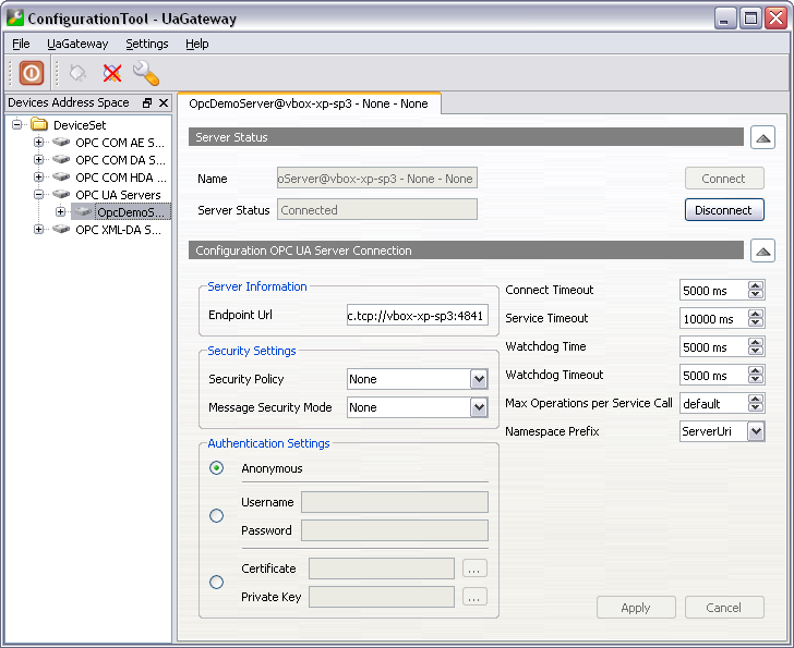 UaGateway: OPC Server Configuration